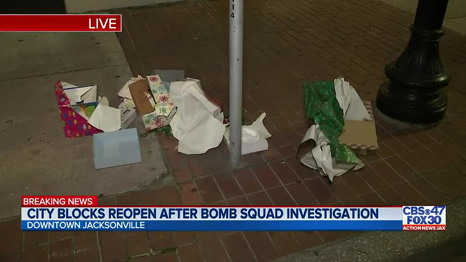 Bomb squad gives all clear after suspicious package wrapped in Christmas paper shut down multiple blocks in downtown Jacksonville