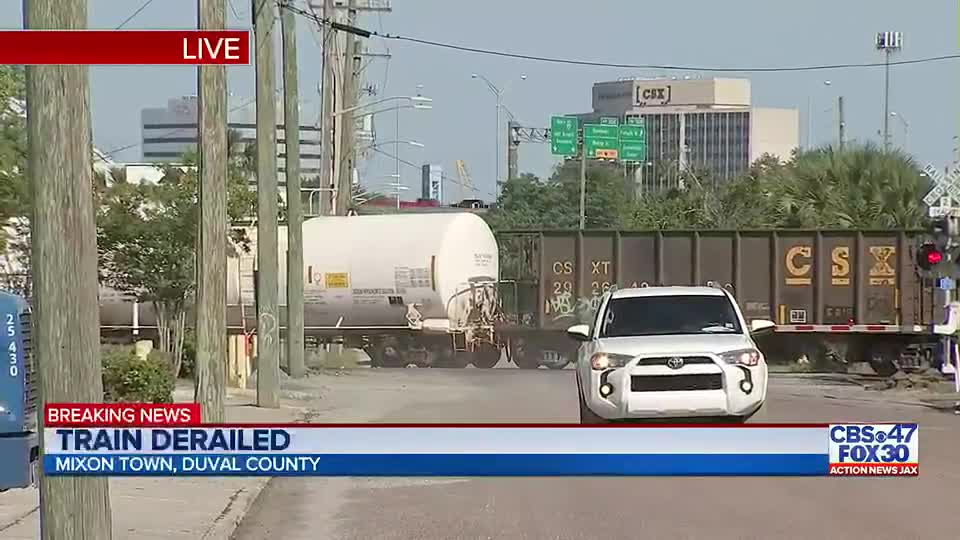 Police shut down Jacksonville intersection after train goes off tracks