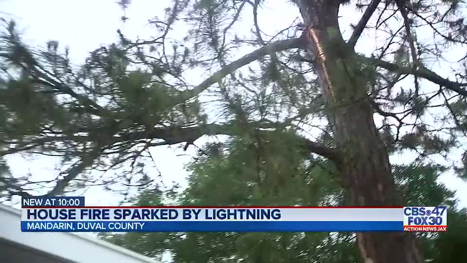 Jacksonville family displaced by house fire sparked by lightning