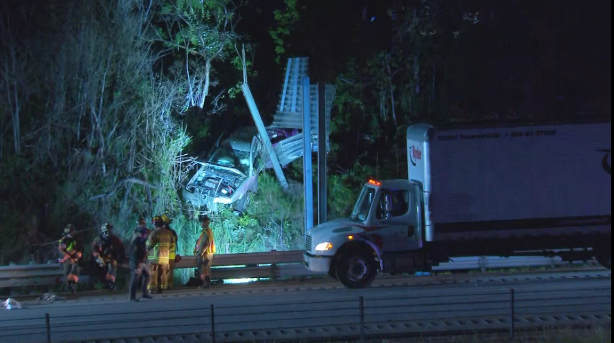 Crash leaves car mangled on hillside next to Route 28; 1 person killed