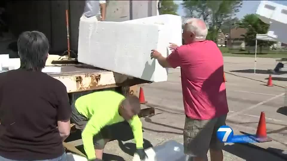 Styrofoam recycling event held in Dayton today