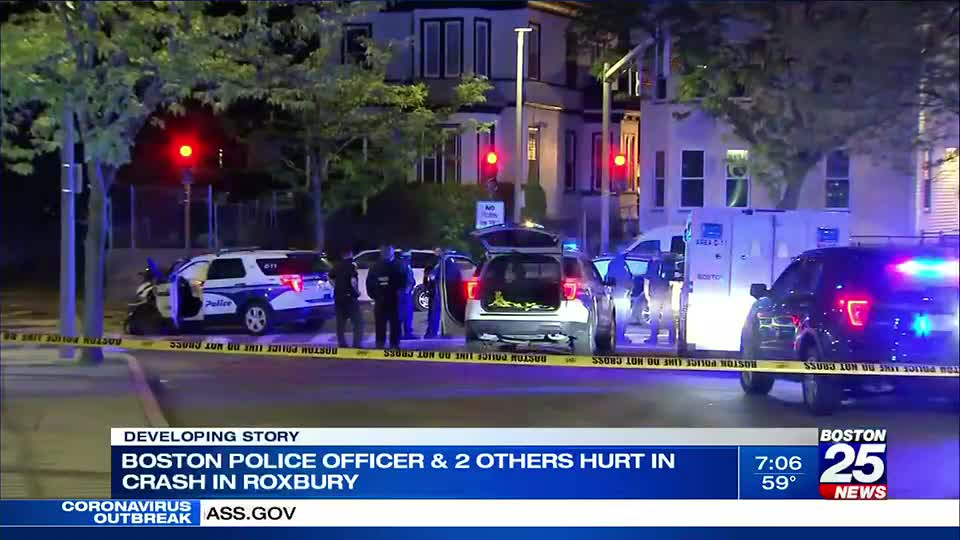 3 transported following officer-involved crash in Roxbury