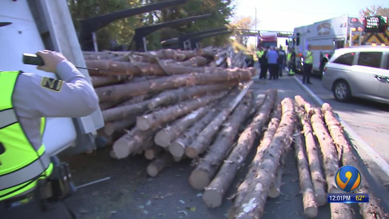 Deadly crash involving logging truck shuts down I-77 in
